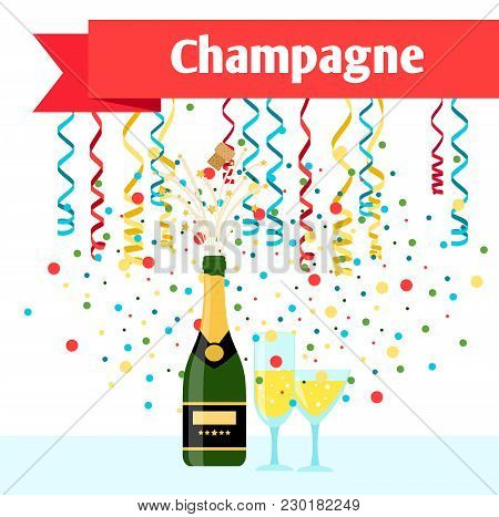 Party With Champagne, Serpentine And Glasses Vector Illustration