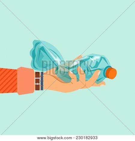 Womans Hand Holding Broken Plastic Bottle Vector Illustration