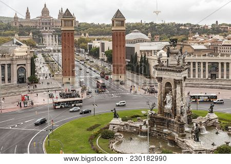 Barcelona,spain-september 30,2015: General View Of Espana Quarter And Montjuic Hill. Barcelona.