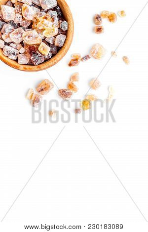 Types Of Sugar. Candy Brown Sugar In Bowl On White Background Top View.