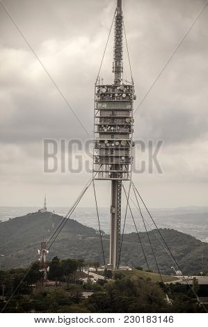 Barcelona,spain-september 29,2015: Tower Of Collserola, Communication Tower Designed By Norman Foste