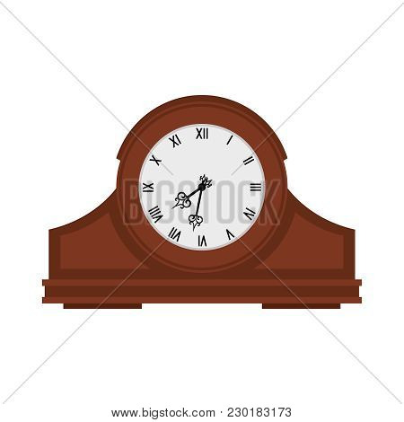 Analog Old Wooden Wall Clock Isolated On White, Vector Illustration