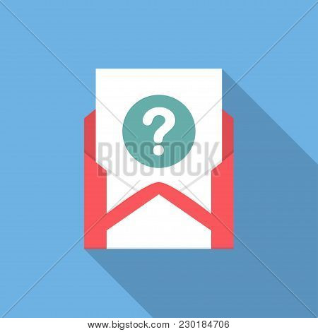 Envelope With Document And Round Blue Question Mark Icon. Vector Illusrtation.