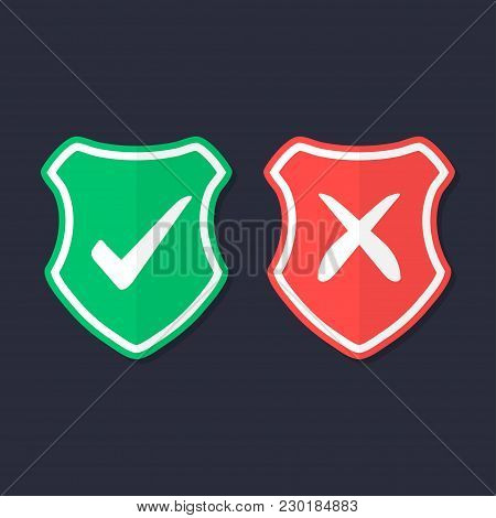 Shields And Check Marks Icons Set. Red And Green Shield With Checkmark And X Mark. Protection, Safet