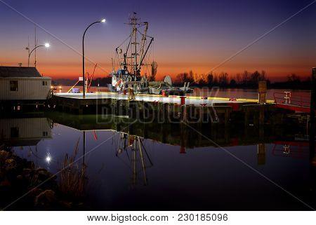Steveston Morning, Dockside Horizontal. Sunrise Twilight Over The Harbor Of Steveston, British Colum