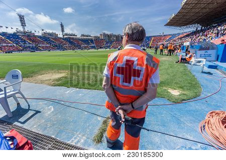 Valencia - May 10: Safety Person Stands During The Spanish League Match Between Levante Fc And Atlet