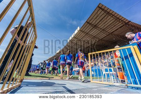 Valencia - May 10: Unidentified Children Entering Levante Fc Field During The Spanish League Match B