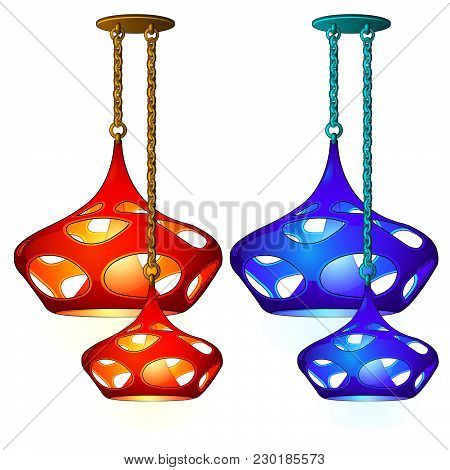 Beautiful Chandelier For The Kitchen Isolated On White Background. Vector Cartoon Close-up Illustrat