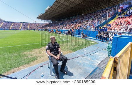 Valencia - May 10: Security Guard Watches Supporters On The Stands During The Spanish League Match B