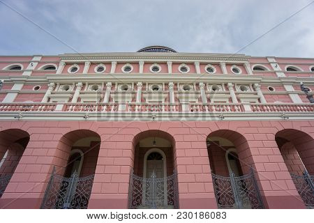 Manaus - Aug 9: Side View Amazonas Theatre Facade On A Cloudy Day On August 9, 2014 In Manaus, Brazi