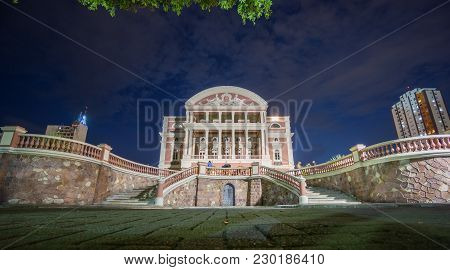 Manaus - Aug 9: Amazonas Theatre Facade At Night On August 9, 2014 In Manaus, Brazil. The Opera Hous
