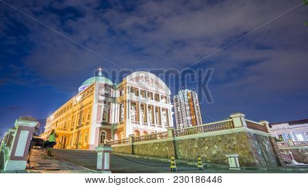 Manaus - Aug 9: Amazonas Theatre Facade By Night On August 9, 2014 In Manaus, Brazil. The Opera Hous