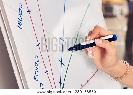 Business People Economics Analytics And Statistics Concept - Close Up Of Hand With Marker Drawing Gr