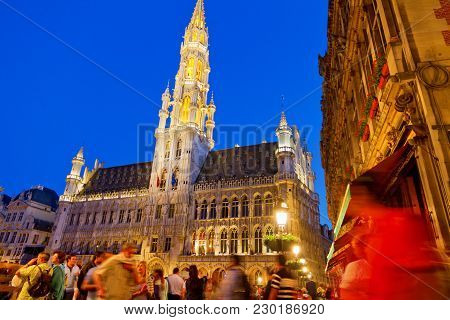 Brussels - May 25: Unidentified Tourists Visiting Historical Center Of Brussels With Grand Place And
