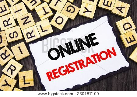 Word, Writing, Text  Online Registration. Business Concept For Register Web Subscription Subscribe W