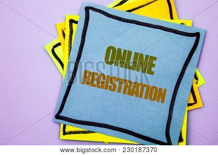Writing Text Showing  Online Registration. Business Photo Showcasing Register Web Subscription Subsc