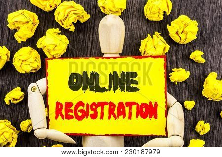 Announcement Text Showing Online Registration. Concept Meaning Register Web Subscription Subscribe W