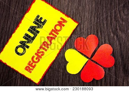 Text Showing Online Registration. Business Photo Showcasing Register Web Subscription Subscribe Writ