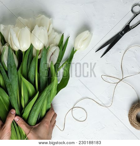 Woman Hand Holding Bouquet Of White Tulips On A White Concrete Background With Twine And Scissors. T