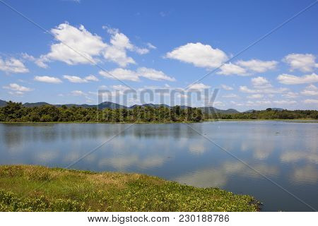 A Beautiful Sri Lankan Mirrror Lake In Tranquil Surroundings With Forest Mountains Lotus And Water H