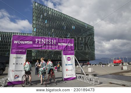 Reykjavik, Iceland - June 19, 2013: Female Participants Wait For The Start Of Wow Cyclothon, A Non-s