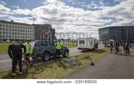 Reykjavik, Iceland - June 19, 2013: Unidentified Participants Wait For The Start Of Wow Cyclothon, A