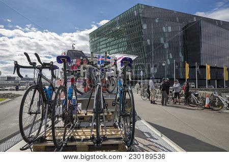 Reykjavik, Iceland - June 19, 2013: Bikes Over Car Wait For The Start Of Wow Cyclothon, A Non-stop R
