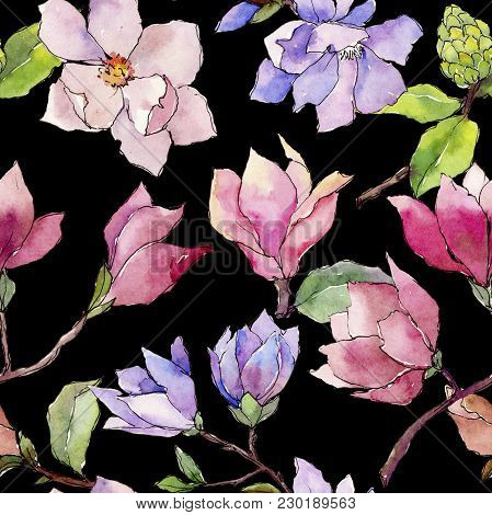 Wildflower Magnolia Flower Pattern In A Watercolor Style. Full Name Of The Plant: Magnolia. Aquarell