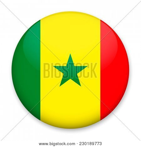 Flag of Senegal in the form of a round button with a light glare and a shadow.