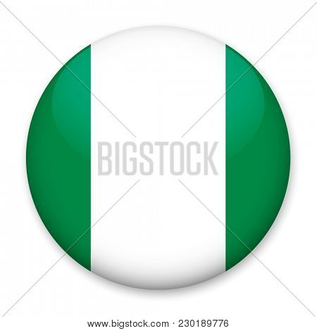 Flag of Nigeria in the form of a round button with a light glare and a shadow.