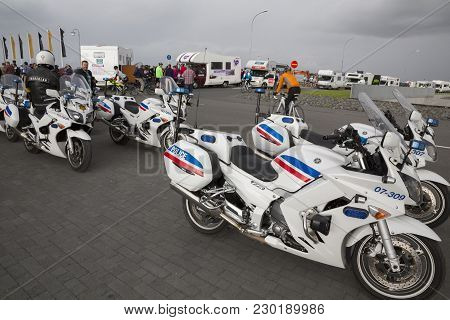 Reykjavik, Iceland - June 19, 2013: Police Motorbikes Wait For The Start Of Wow Cyclothon, A Non-sto