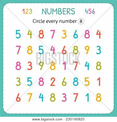 Circle Every Number Eight. Numbers For Kids. Worksheet For Kindergarten And Preschool. Training To W