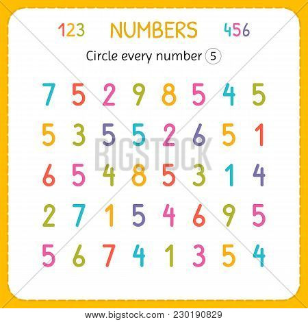 Circle Every Number Five. Numbers For Kids. Worksheet For Kindergarten And Preschool. Training To Wr