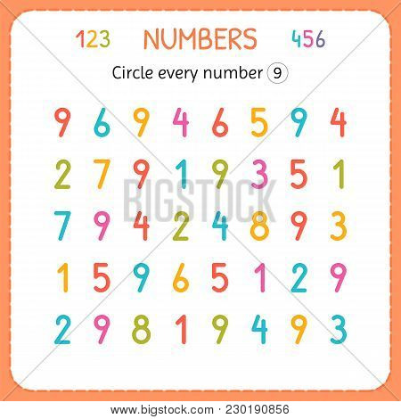 Circle Every Number Nine. Numbers For Kids. Worksheet For Kindergarten And Preschool. Training To Wr