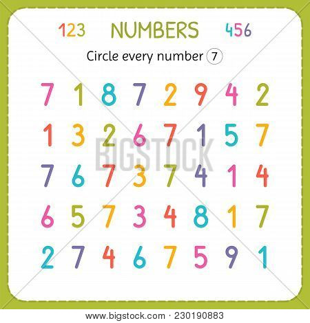 Circle Every Number Seven. Numbers For Kids. Worksheet For Kindergarten And Preschool. Training To W