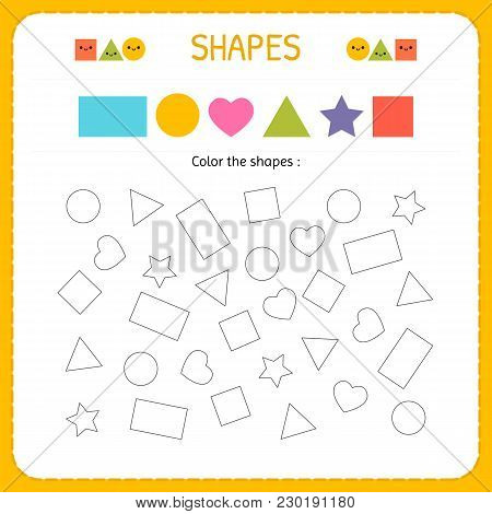 Coloring Multiple Shapes. Learn Shapes And Geometric Figures. Preschool Or Kindergarten Worksheet Fo