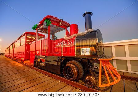 Busselton, Australia - Dec 30, 2017: Perspective View Of Busselton Jetty Train, Western Australia At