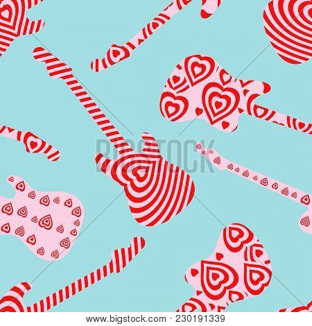 Seamless Pattern With Hearts Finish Guitar On Blue Background. Valentine's Day Concept Guitar Silhou