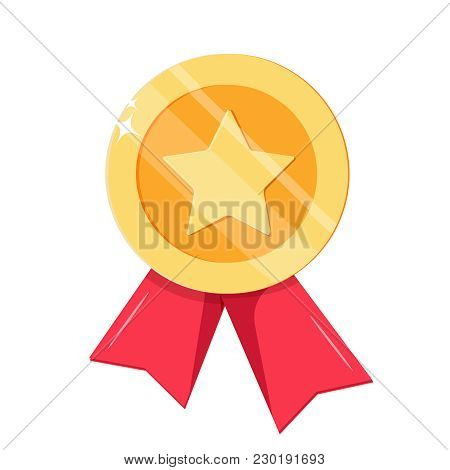 Gold Medal With Red Ribbons Isolated On White Background. Vector Illustration In Flat Style. First P