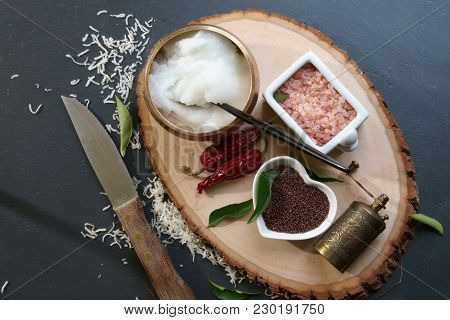 Mustard Seeds And Himalayan Salt With Other Spices And Coconut Oil, Ingredients For Cooking. Selecti