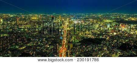 Tokyo Skyline Panorama At Blue Hour. Roppongi Hills, Minato District, Tokyo, Japan. Aerial View Of C