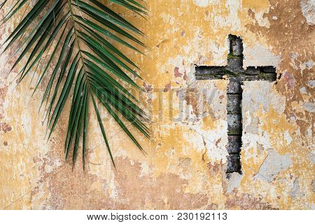 Palm Branch And Christian Cross Or Crucifix On Old Vintage Traditional Wall As Palm Sunday Religion