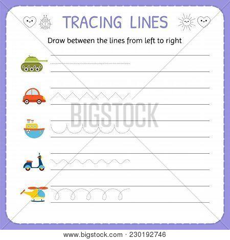 Draw Between The Lines From Left To Right. Preschool, Kindergarten Worksheet For Practicing Motor Sk