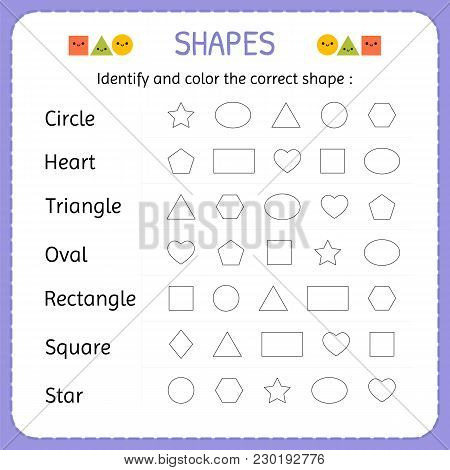 Identify And Color The Correct Shape. Learn Shapes And Geometric Figures. Preschool Or Kindergarten