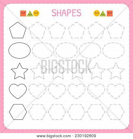 Learn Shapes And Geometric Figures. Preschool Or Kindergarten Worksheet For Practicing Motor Skills.