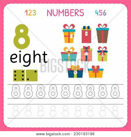 Numbers Tracing Worksheet For Preschool And Kindergarten. Writing Number Eight. Exercises For Kids.