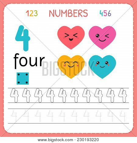 Numbers Tracing Worksheet For Preschool And Kindergarten. Writing Number Four. Exercises For Kids. M