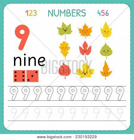 Numbers Tracing Worksheet For Preschool And Kindergarten. Writing Number Nine. Exercises For Kids. M