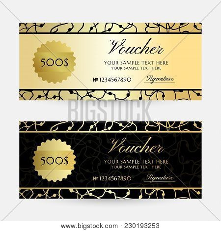 Gold Scribbles. Gift Vouchers Template Collection. Vector Decorative Horizontal  Flayers