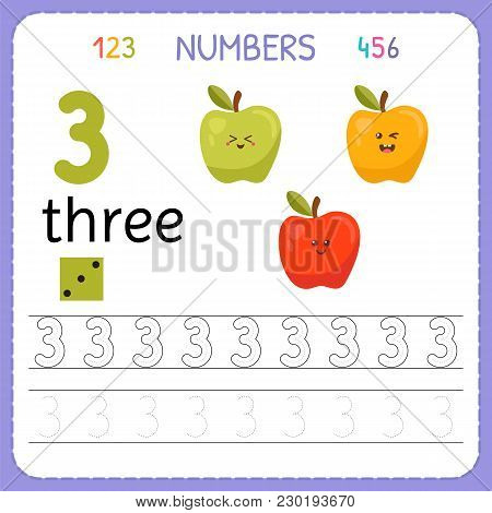 Numbers Tracing Worksheet For Preschool And Kindergarten. Writing Number Three. Exercises For Kids.